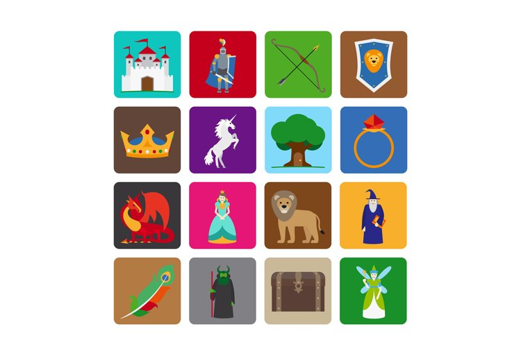 Fairy tale flat icons example image 1
