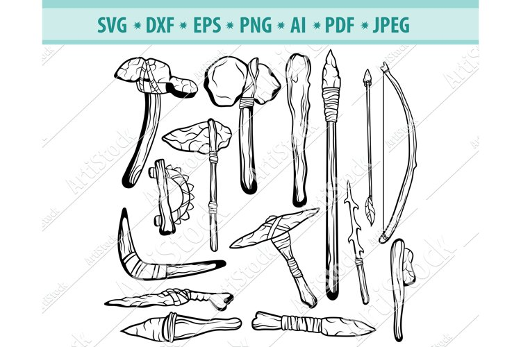Ancient weapon Svg, Stone ax Png, Prehistoric era Dxf, Eps example image 1