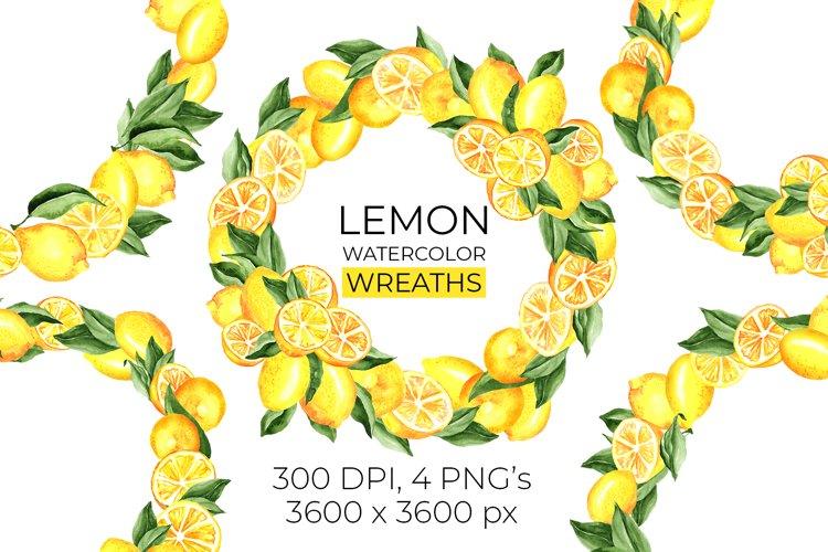 Lemon Wreaths Watercolor Clipart example image 1