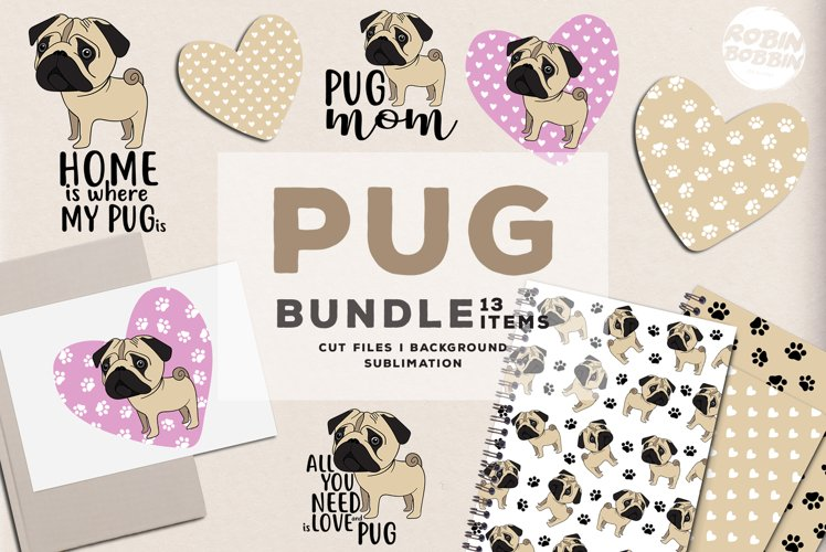 Pugs SVG Bundle - Pug Pattern - Pug Lover Bundle