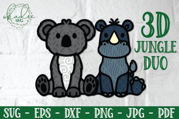 3D Jungle Animal SVG, Papercut Koala, Rhino SVG, Layered SVG example
