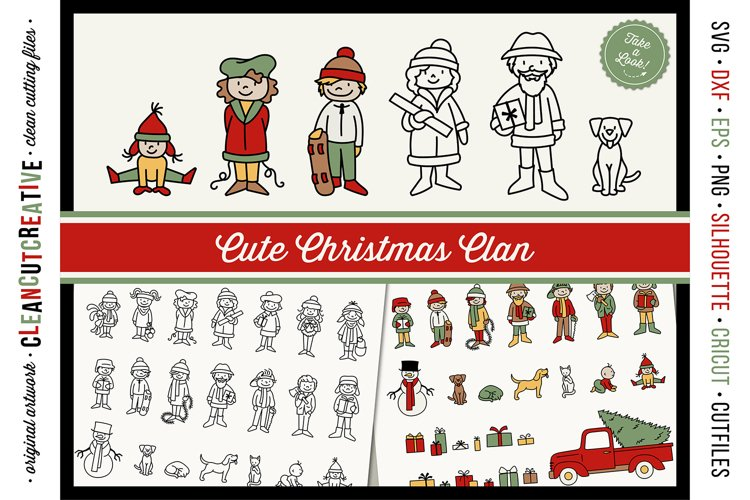 Cute Christmas Clan - Family Characters svg cutfiles vector example image 1