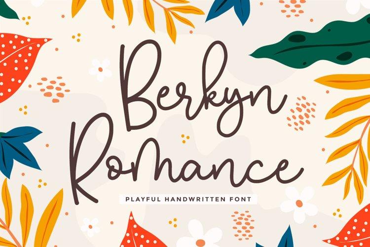 Monoline Script Font - Berkyn Romance example image 1
