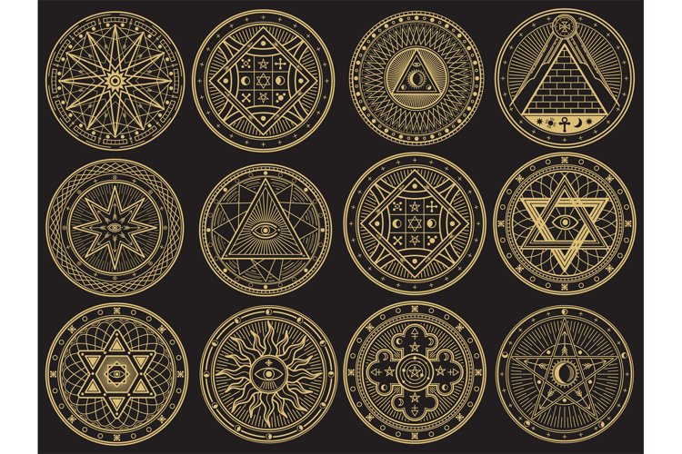 Golden mystery, witchcraft, occult, alchemy, mystical esoter