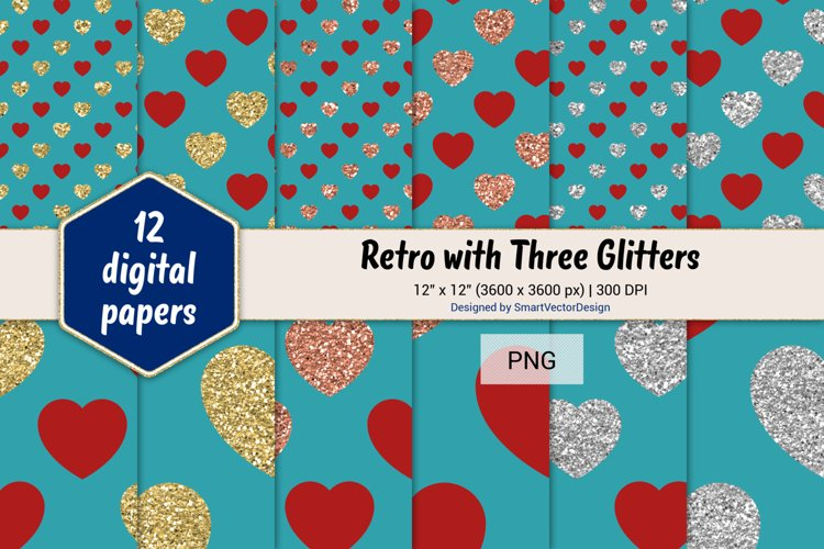 Hearts Retro with Three Glitters Color Combo #17 example image 1