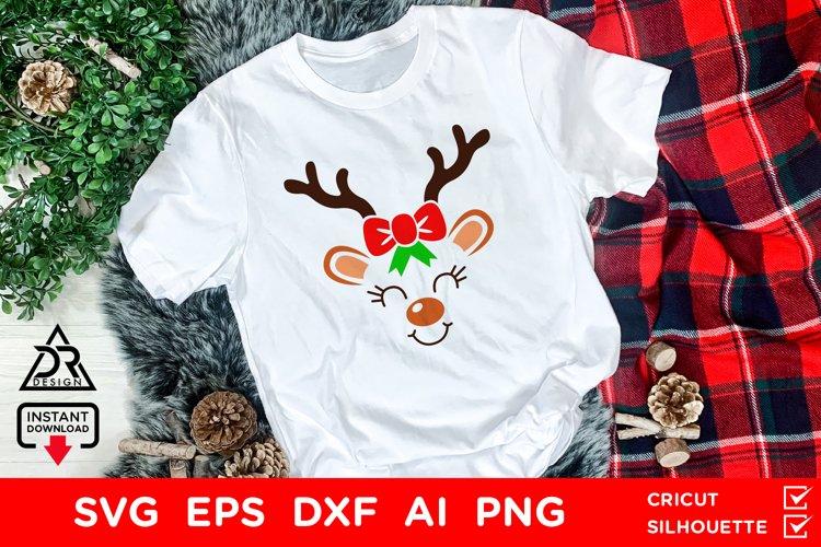 Cute Christmas Reindeer Face cut file