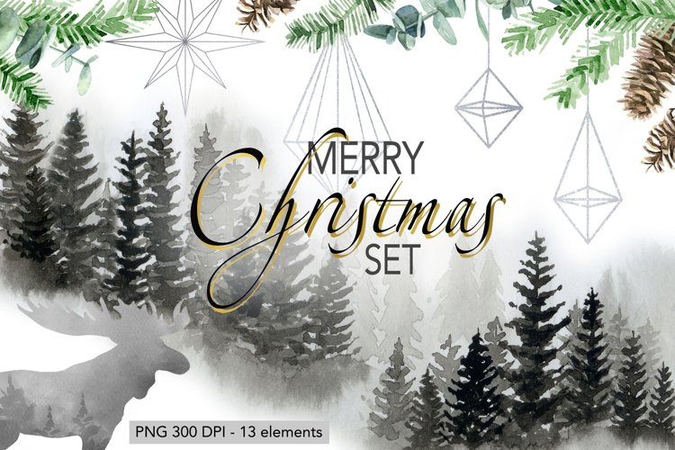 Christmas Set Winter Forest Watercolor Christmas Designs example image 1