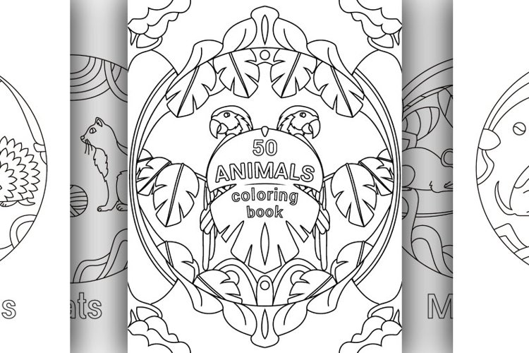 50 different animals in one coloring book, plus a cover