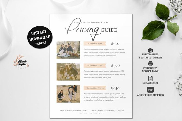 Price guide template , Photography pricing template,