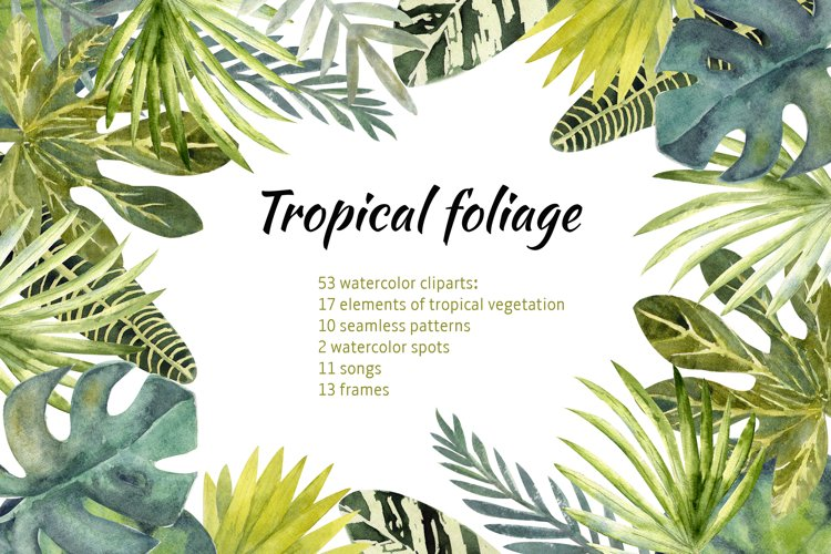 Tropical leaves watercolor example image 1