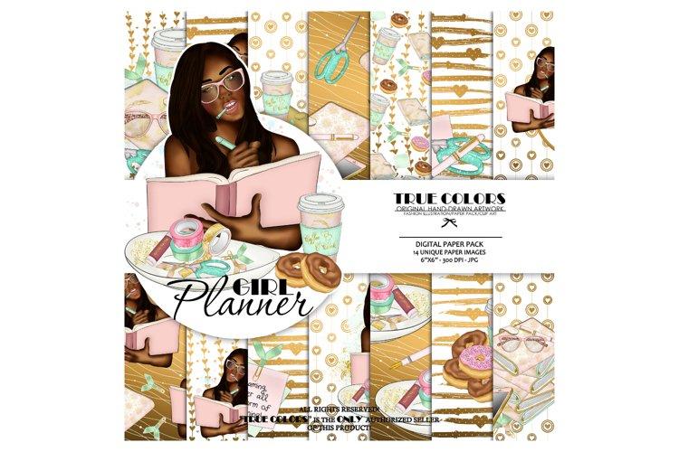 Afroamerican Planner Girl Afroamerican Digital Paper Pack example image 1