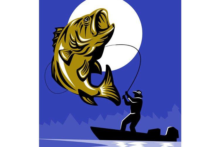 Largemouth Bass Fish Fly Fisherman Fishing rod example image 1