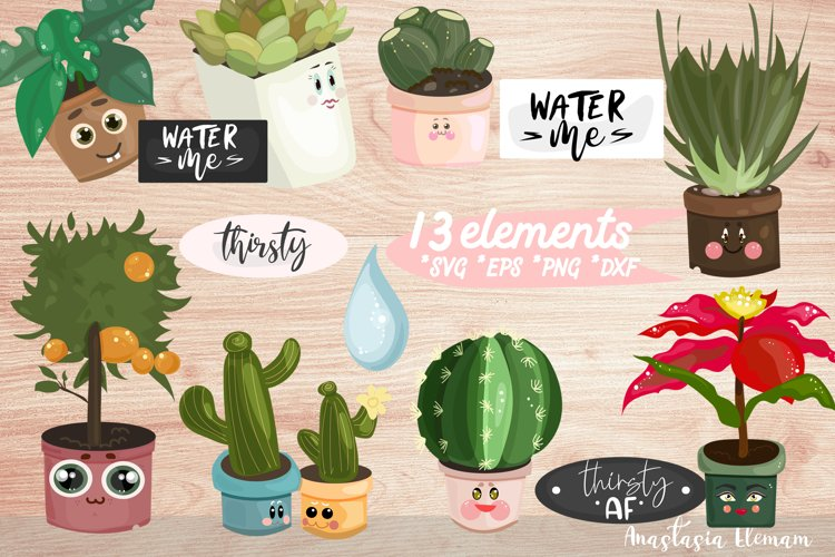 Water Me Potted Plants clipart sticker set eps png svg dxf example image 1