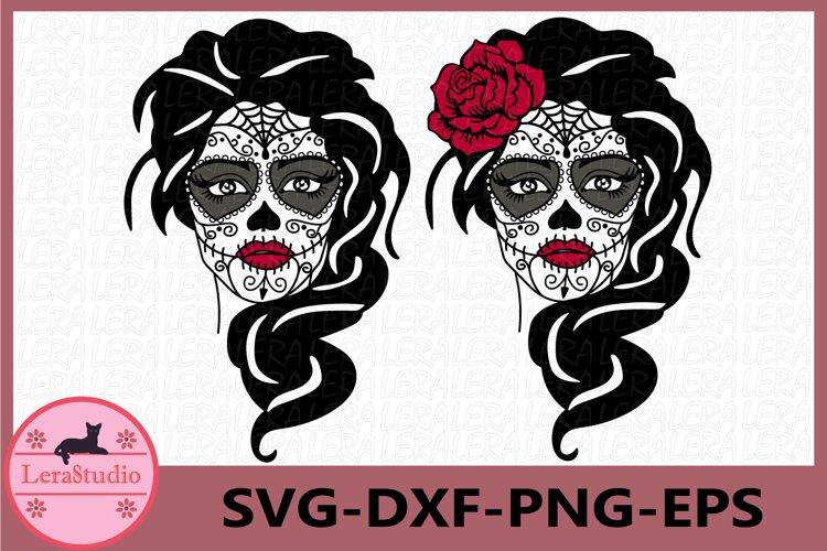 Sugar Skull Svg, Girl skull svg, Skeleton svg example image 1