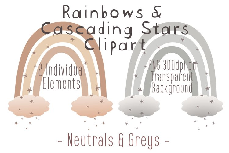 Cute Rainbow Clipart, Grey Neutral, Nursery, Baby Shower PNG example image 1