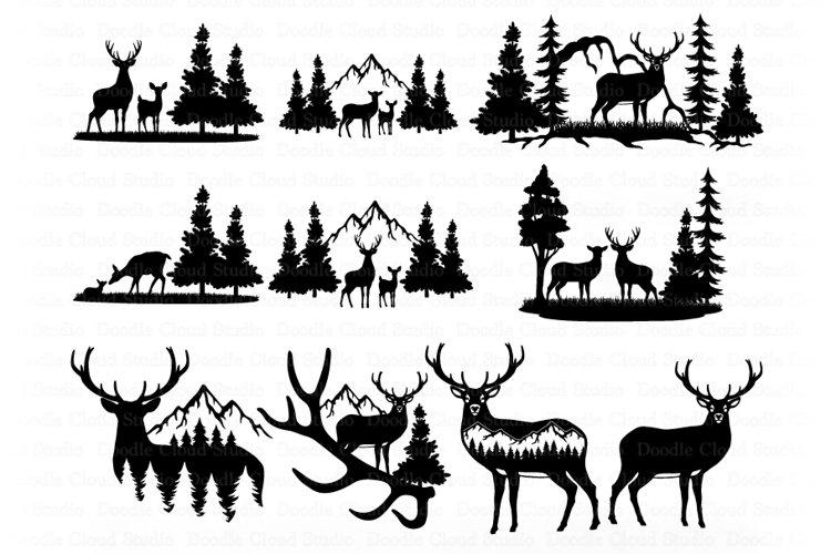 Deer Bundle SVG, Deer and Mountains SVG Cut Files. Wildlife.