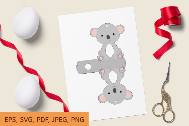 Cute Koala Chocolate Egg Holder Design, Print and Cut example image 1