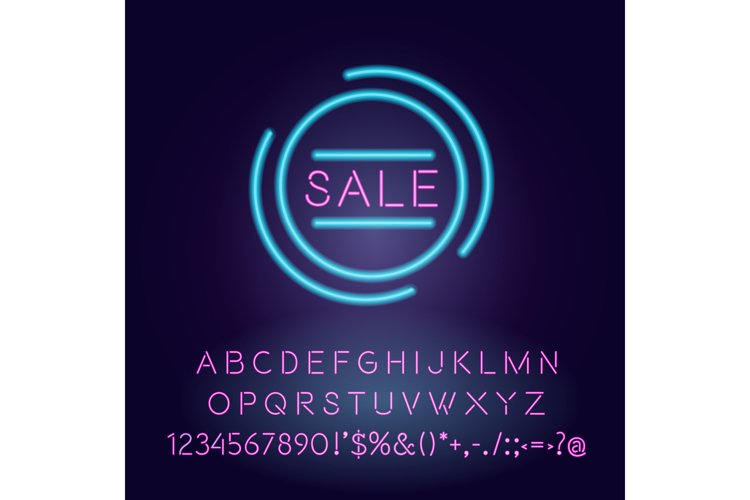 Sale vector neon light board sign illustration example image 1