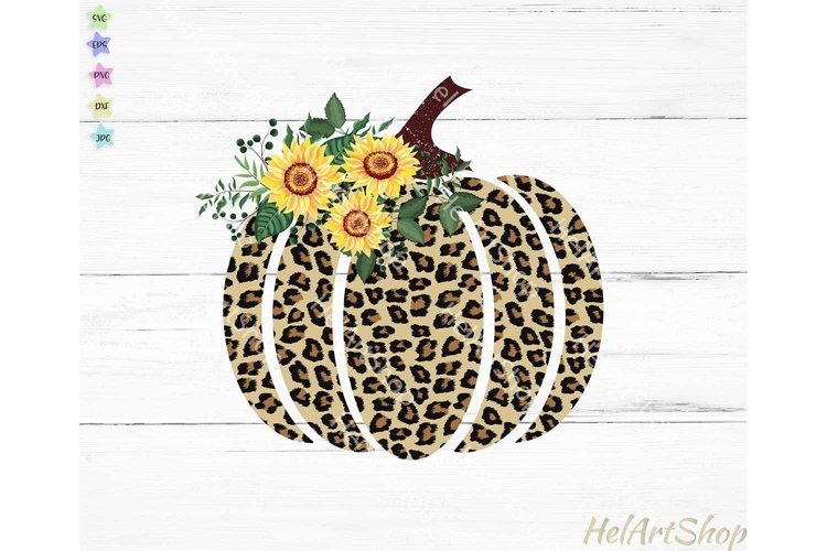 Leopard Print Pumpkin Sublimation PNG, Fall sublimation example image 1