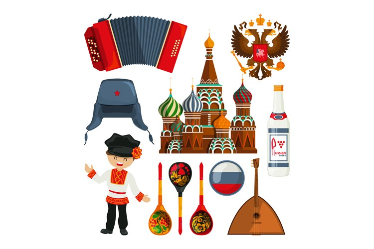 Russian landmarks and different traditional symbols example image 1