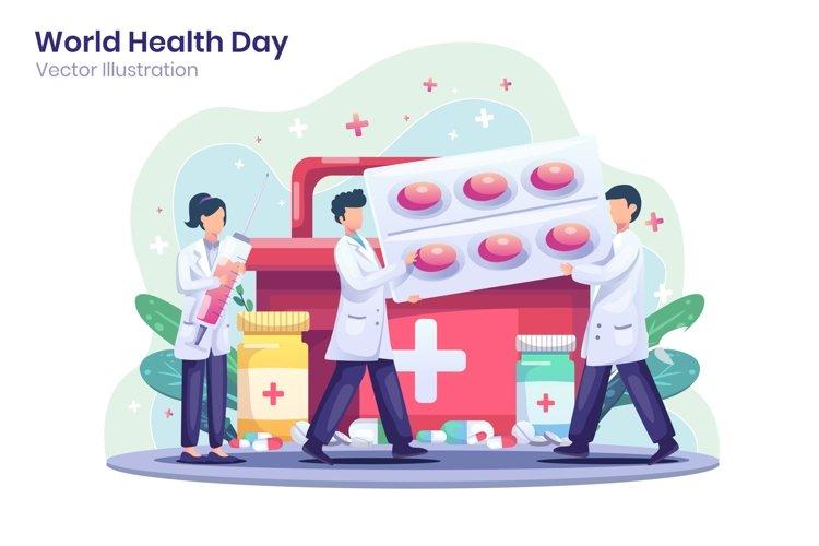 World Health Day concept flat illustration example image 1