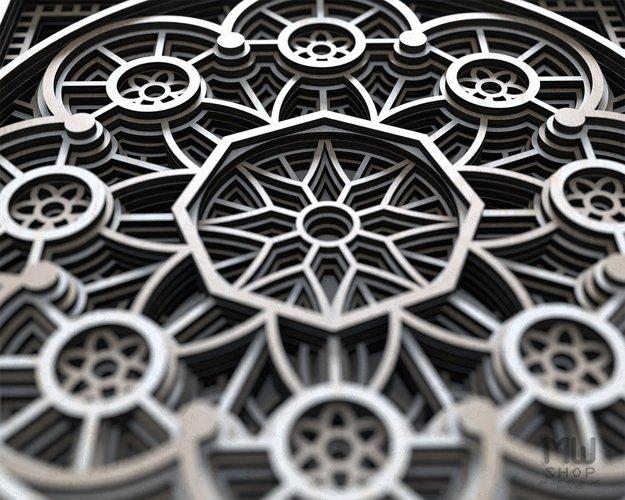 Layered Mandala SVG, 3D Mandala SVG, Laser Cut Mandala - D01 example 3