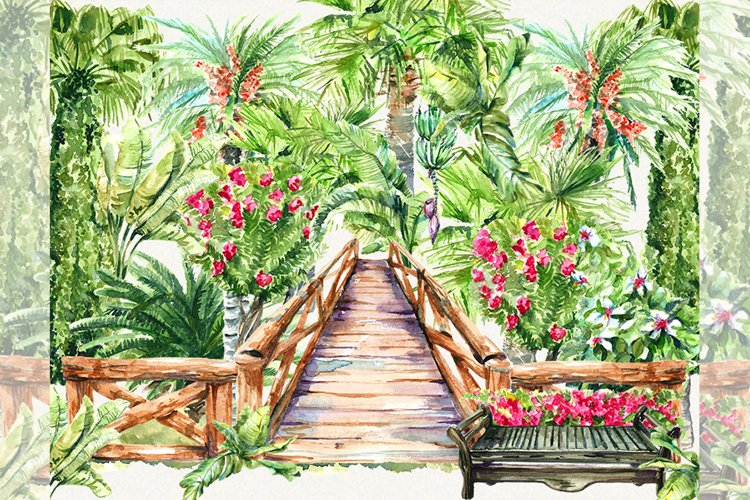 Tropical clipart, PAlm trees clipart, garden clipart, Exotic