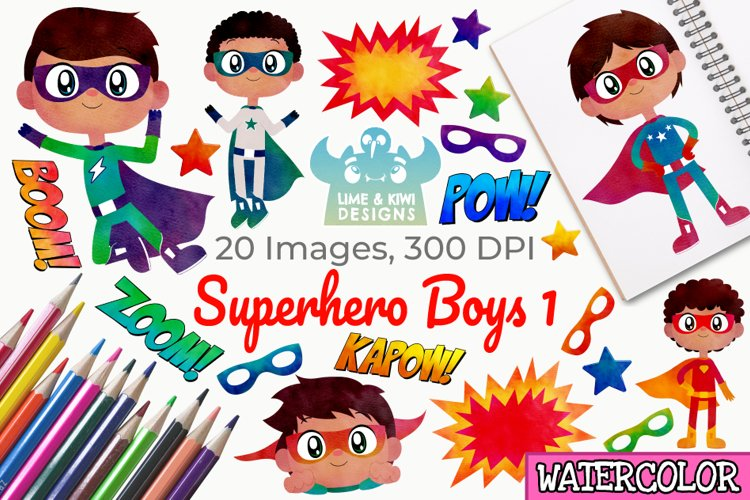 Superhero Boys 1 Watercolor Clipart, Instant Download example image 1