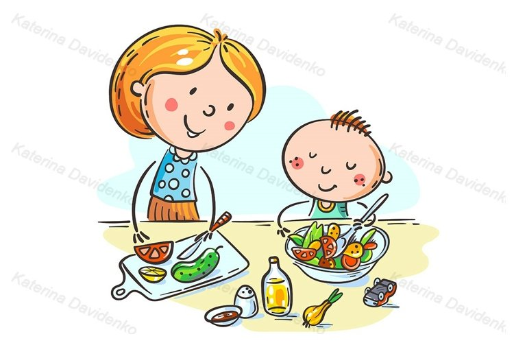 Mother and kid cooking together