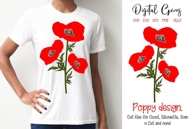 Poppy flowers SVG / EPS / DXF / PNG files example image 1