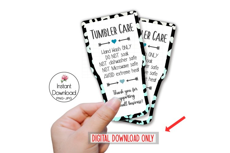 Printable Tumbler Care Card, Tumbler Wash Instructions example image 1