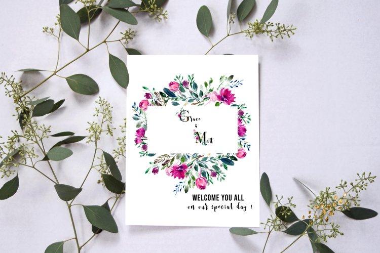 Watercolor floral frames, floral clipart, romantic borders