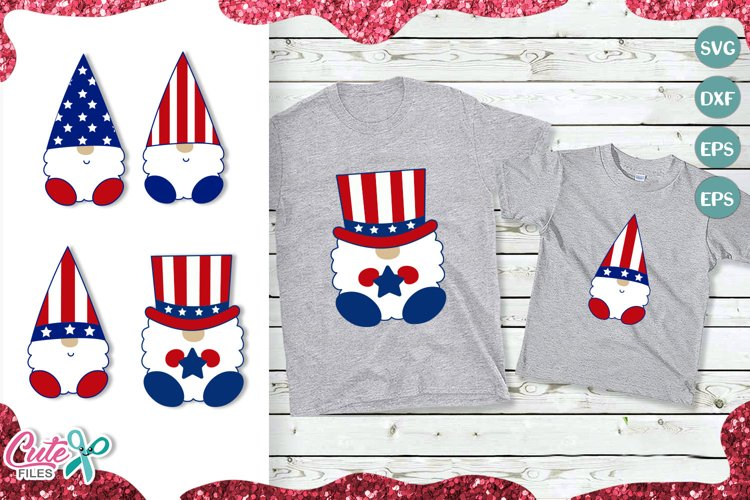 Patriotic Gnome set svg 4th of July SVG example image 1