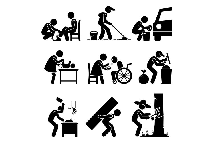 Odd Random Occupations Jobs Stick Figure Pictogram Icons. example image 1