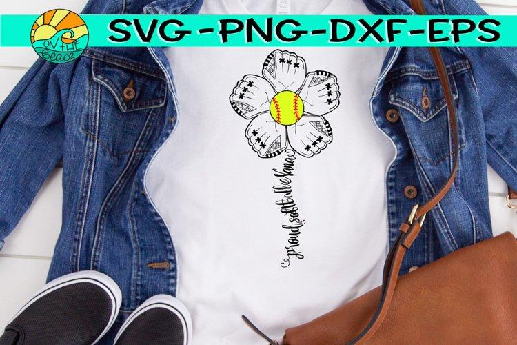 Softball Nana - Proud - Flower Mitt - SVG - DXF - EPS - PNG example image 1