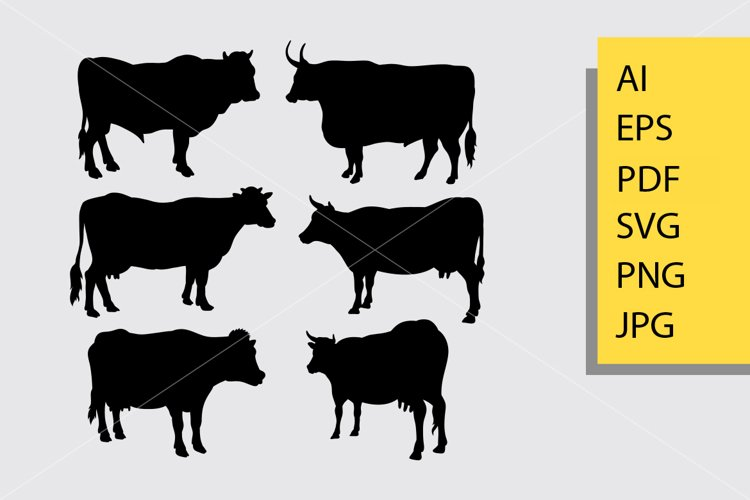 Bull and cow animal silhouette example image 1