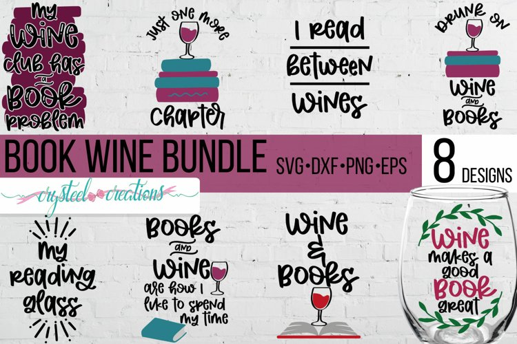 Book Wine Bundle SVG, DXF, PNG, EPS example image 1