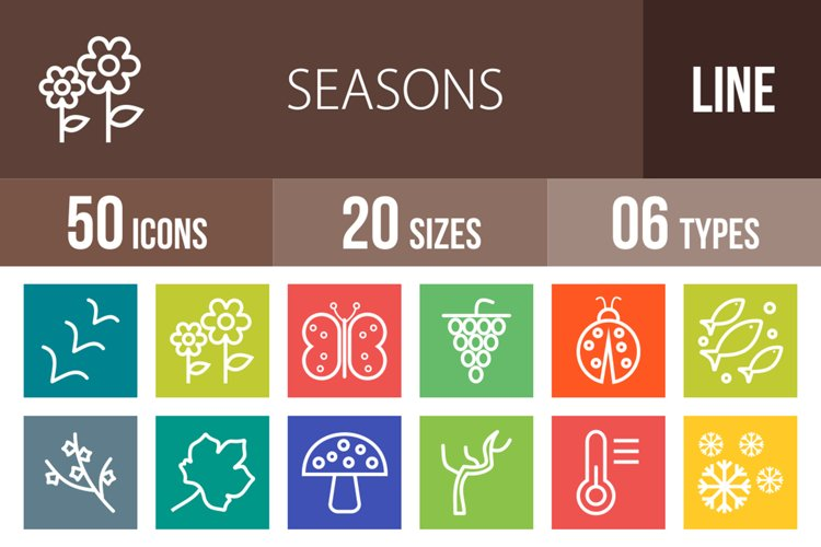 50 Seasons Line Multicolor B/G Icons example image 1