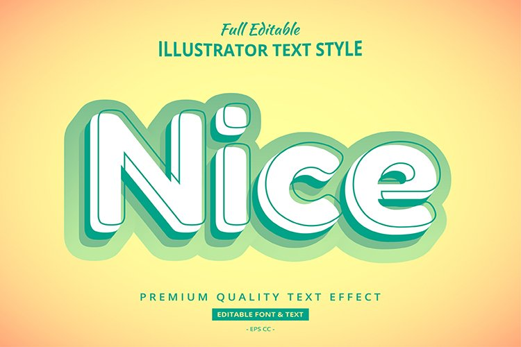 Nice Solid Modern Illustrator Text Style Effect example image 1