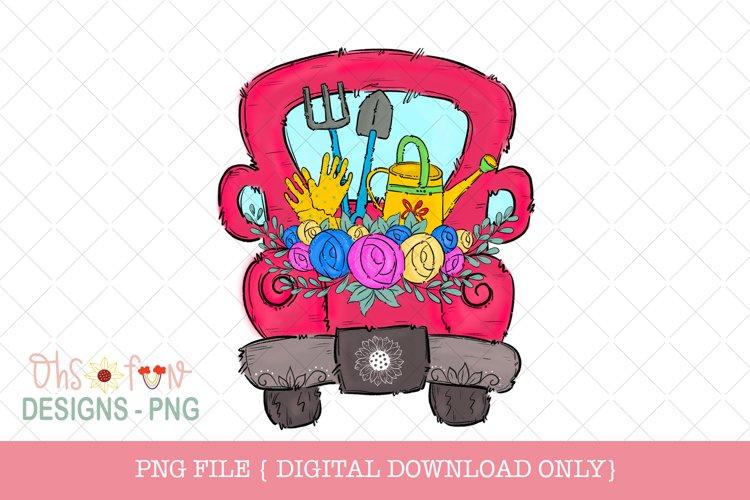 Garden truck, red vintage truck, Sublimation design example image 1