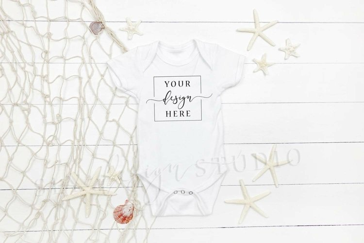 Beach Themed White Onesie Mockup Farmhouse Simple Baby