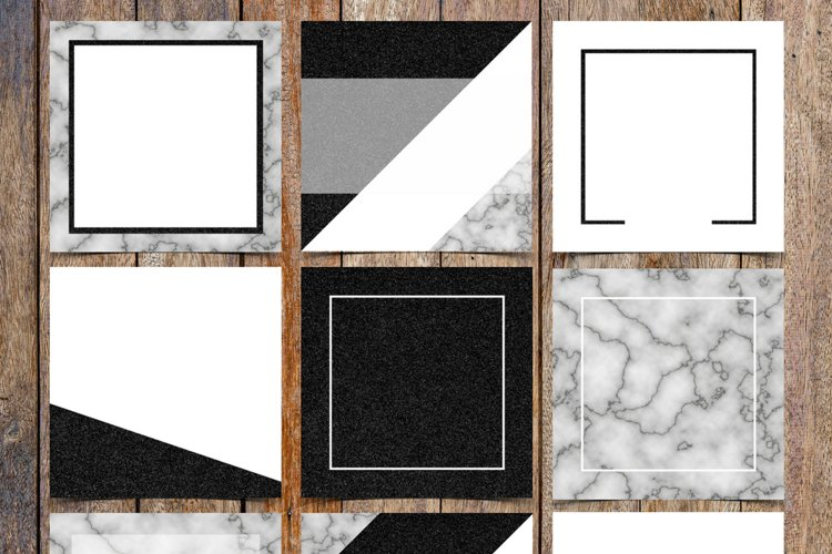 Marble and Black Glitter Instagram Template Pack example image 1