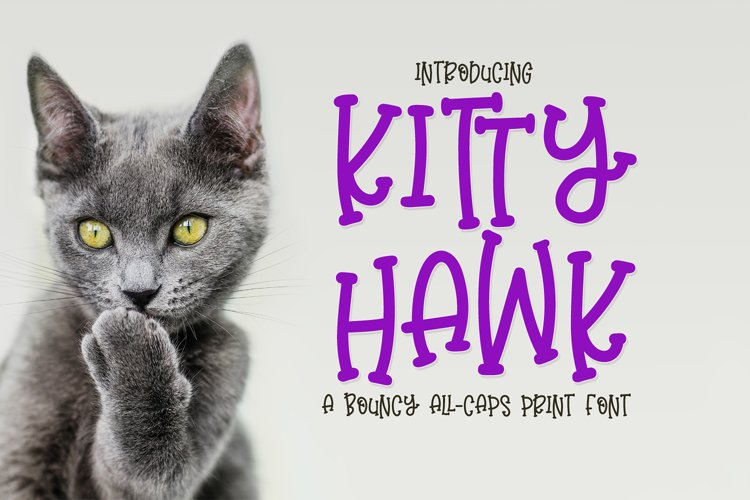 Kitty Hawk - a bouncy all-caps print example image 1