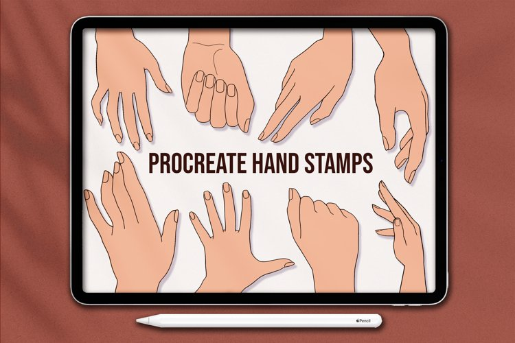 Procreate Hands Stamp Brushes, Guide Brushes example image 1