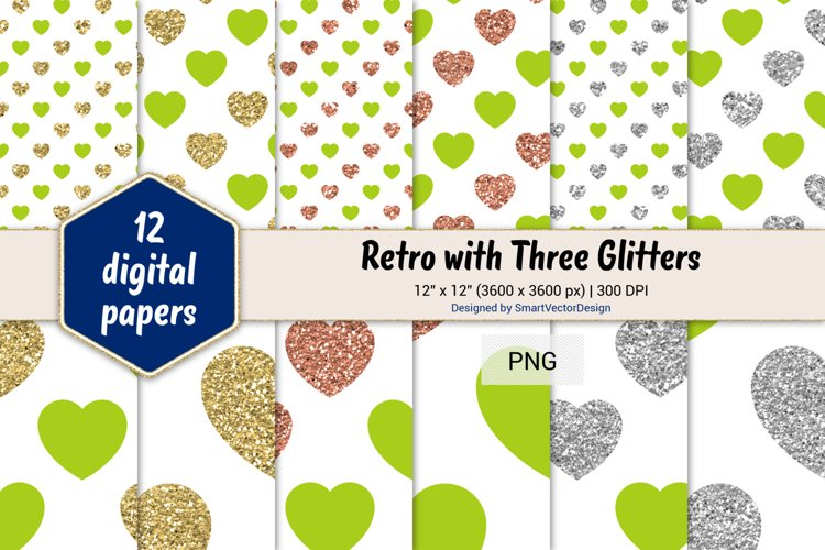 Hearts Retro with Three Glitters Color Combo #36 example image 1
