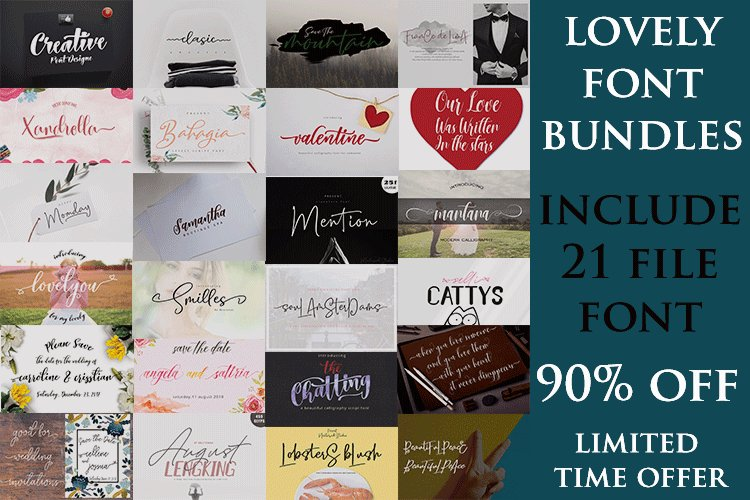 Lovely Font Bundles 90 Off Limited Time example image 1