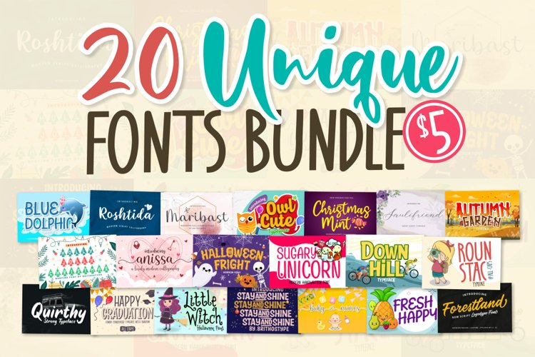 20 Unique Font Bundle