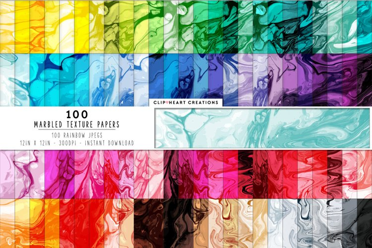 100 Marbled Digital Papers in Rainbow Colors example image 1
