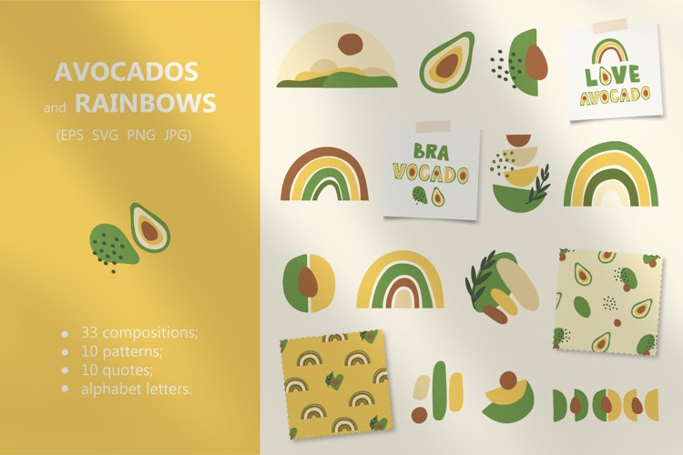 Avocados and Rainbows Set, Clipart, Patterns, Alphabet. example image 1