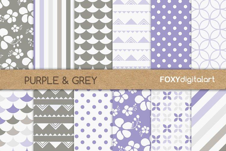 Digital paper purple floral hibiscus scrapbook polka dot example image 1